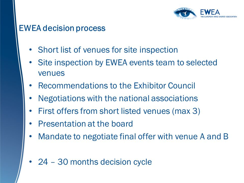 EWEA decision process Short list of venues for site inspection Site inspection by EWEA events team to selected venues Recommendations to the Exhibitor Council Negotiations with the national associations First offers from short listed venues (max 3) Presentation at the board Mandate to negotiate final offer with venue A and B 24 – 30 months decision cycle