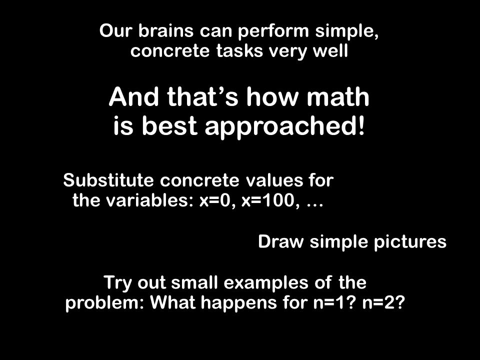 Assuming the Result Example = k(k+1)/2 + (k+1) (by I.H.) Thus S k+1 = (k + 1)(k+2)/2 S n = sum of first n integers = n(n+1)/2 Want to prove: S n is true for all n > 0 Base case: S 1 = 1 = 1(1+1)/2 I.H.