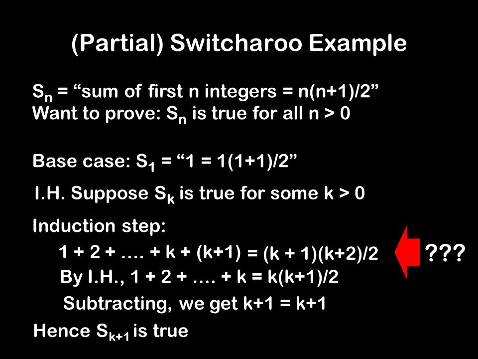 "Switcharoo Example Hence blah blah, S k is true = (k + 1)(k+2)/2 S n = ""sum of first n integers = n(n+1)/2"" Want to prove: S n is true for all n > 0 B"