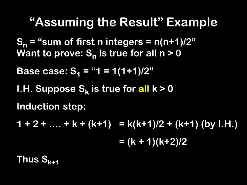 Proof by Assuming The Result Assume X is true Therefore, X is true! 4 … RECURSIVE(X) {: return RECURSIVE(X); } Like a program with this code: