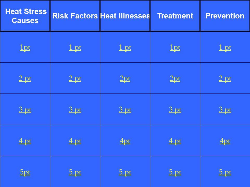 2 pt 3 pt 4 pt 5pt 1 pt 2 pt 3 pt 4 pt 5 pt 1 pt 2pt 3 pt 4pt 5 pt 1pt 2pt 3 pt 4 pt 5 pt 1 pt 2 pt 3 pt 4pt 5 pt 1pt Heat Stress Causes Risk FactorsHeat IllnessesTreatmentPrevention