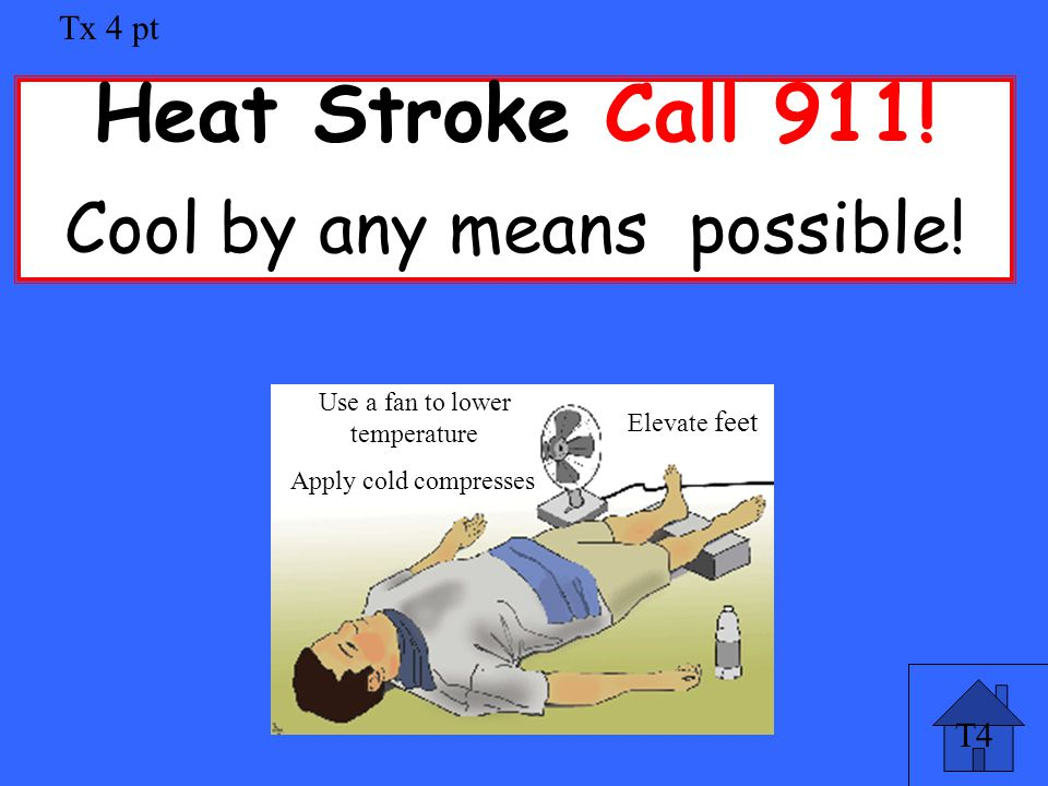 T4 Tx 4 pt Heat Stroke Call 911. Cool by any means possible.