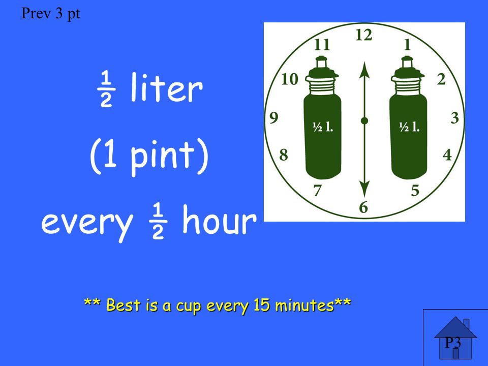P3 Prev 3 pt ½ liter (1 pint) every ½ hour ** Best is a cup every 15 minutes**