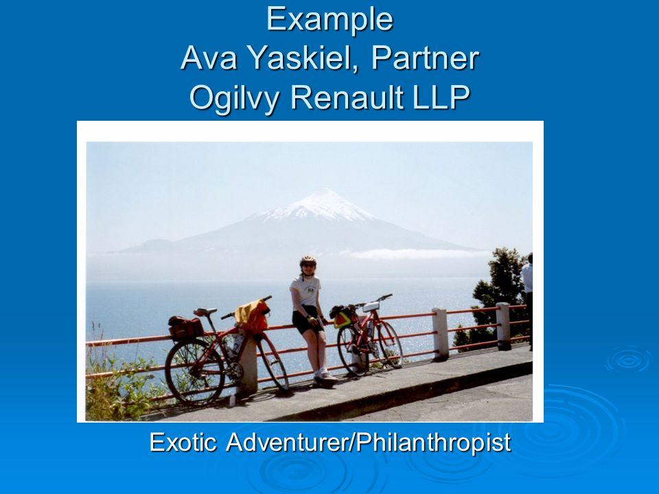 Example Ava Yaskiel, Partner Ogilvy Renault LLP Exotic Adventurer/Philanthropist