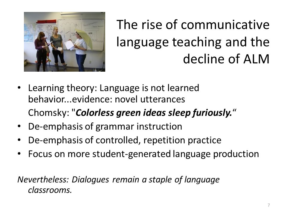 The rise of communicative language teaching and the decline of ALM Learning theory: Language is not learned behavior...evidence: novel utterances Chom