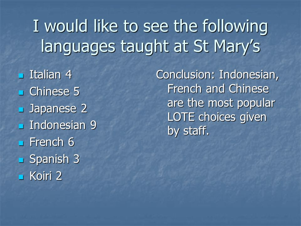 I would like to see the following languages taught at St Mary's Italian 4 Italian 4 Chinese 5 Chinese 5 Japanese 2 Japanese 2 Indonesian 9 Indonesian 9 French 6 French 6 Spanish 3 Spanish 3 Koiri 2 Koiri 2 Conclusion: Indonesian, French and Chinese are the most popular LOTE choices given by staff.