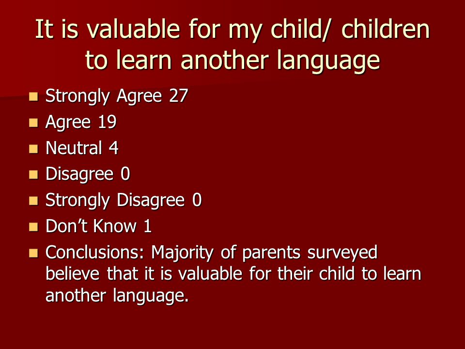 It is valuable for students to learn another language Strongly Agree 6 Strongly Agree 6 Agree 8 Agree 8 Neutral 3 Neutral 3 Disagree 0 Disagree 0 Strongly Disagree 0 Strongly Disagree 0 Don't Know 0 Don't Know 0 Conclusions: Majority of staff surveyed believe that it is valuable for their students to learn another language.