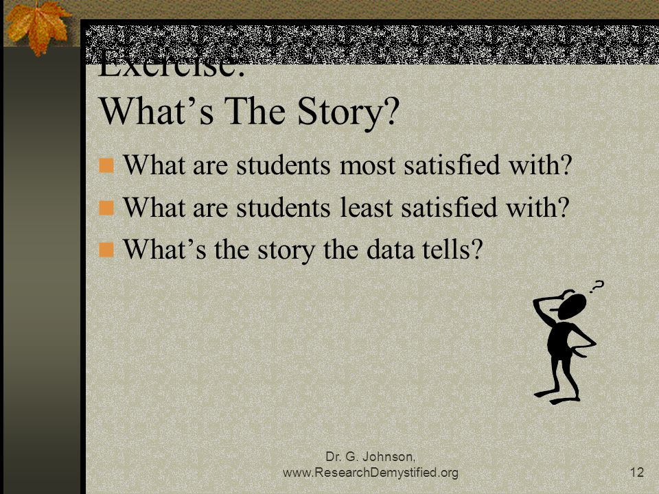 Dr. G. Johnson,   Exercise: What's The Story.