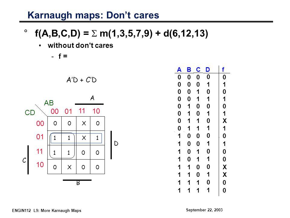 ENGIN112 L9: More Karnaugh Maps September 22, 2003 + C'D Karnaugh maps: Don't cares °f(A,B,C,D) =  m(1,3,5,7,9) + d(6,12,13) without don t cares -f = 01 X0X1X0X1 D A 1 110X110X 00 B C A'D CD AB 00 01 11 10 00 01 11 10 Cf 00 01 10 11 00 01 1X 100110011100110011 D 0 1 0 1 0 1 0 101010101101010101 10100XX0010100XX00 A 0 0 0 0 0 0 0 011111111011111111 + B 0 0 0 0 1 1 1 100001111100001111 +