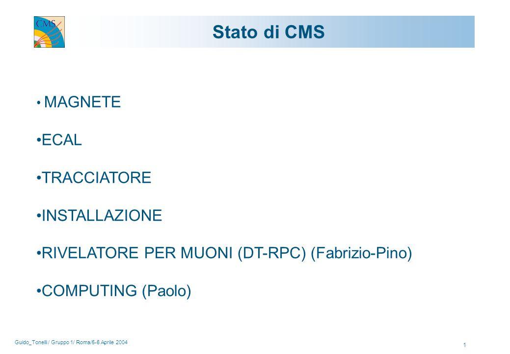 Guido_Tonelli / Gruppo 1/ Roma/5-6 Aprile 2004 1 Stato di CMS MAGNETE ECAL TRACCIATORE INSTALLAZIONE RIVELATORE PER MUONI (DT-RPC) (Fabrizio-Pino) COMPUTING (Paolo)