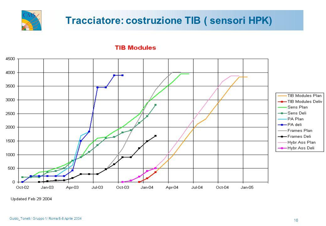 Guido_Tonelli / Gruppo 1/ Roma/5-6 Aprile 2004 16 Tracciatore: costruzione TIB ( sensori HPK)