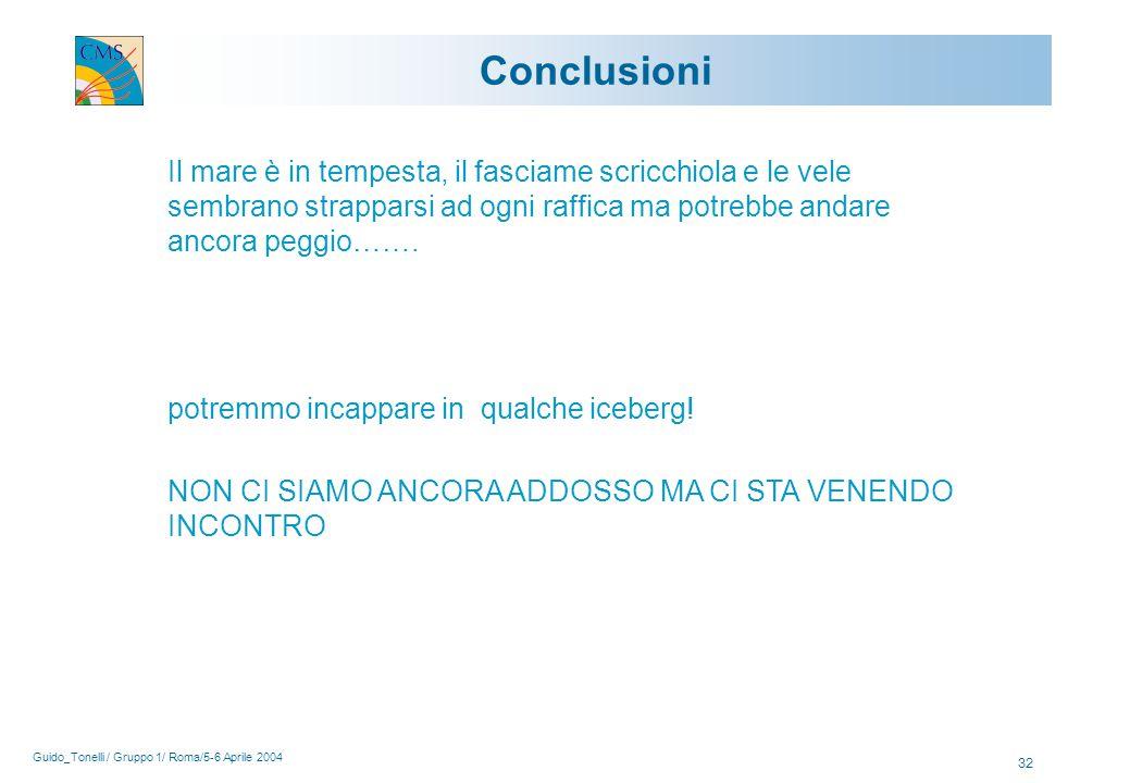Guido_Tonelli / Gruppo 1/ Roma/5-6 Aprile 2004 32 Conclusioni Il mare è in tempesta, il fasciame scricchiola e le vele sembrano strapparsi ad ogni raffica ma potrebbe andare ancora peggio…….