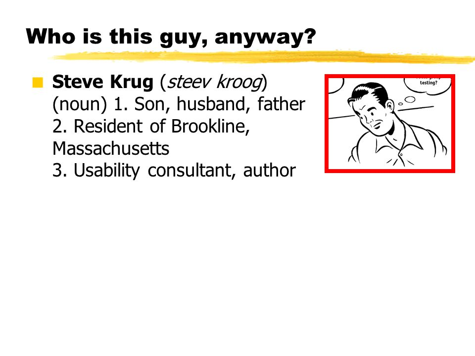 © 2001 Steve Krug Who is this guy, anyway?  Steve Krug (steev kroog) (noun) 1. Son, husband, father 2. Resident of Brookline, Massachusetts 3. Usabil