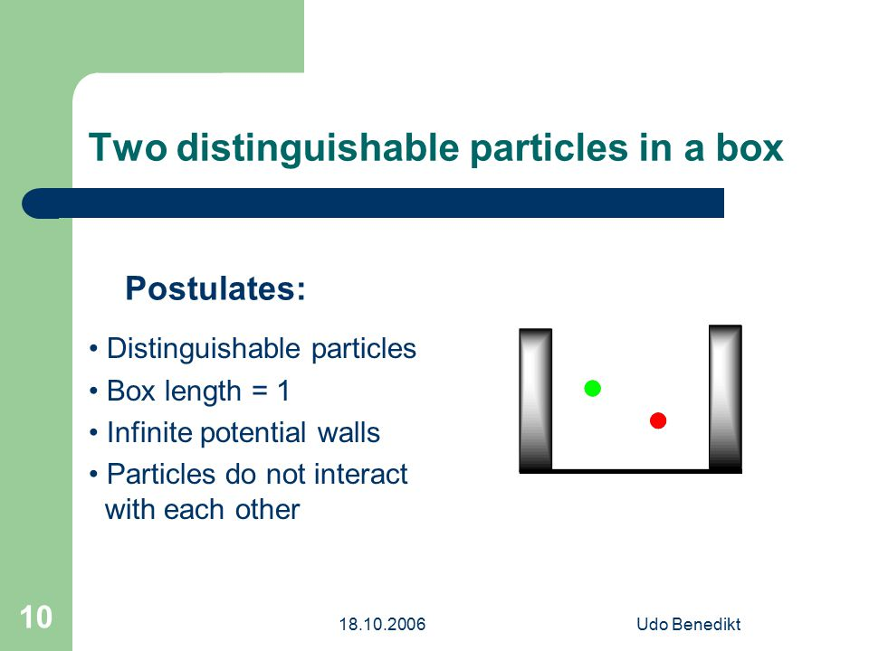 18.10.2006Udo Benedikt 10 Two distinguishable particles in a box Postulates: Distinguishable particles Box length = 1 Infinite potential walls Particles do not interact with each other