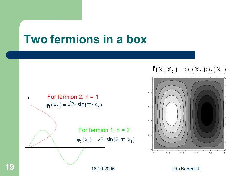 18.10.2006Udo Benedikt 19 Two fermions in a box For fermion 1: n = 2 For fermion 2: n = 1