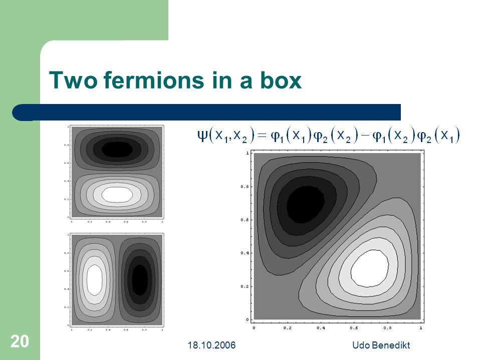 18.10.2006Udo Benedikt 20 Two fermions in a box