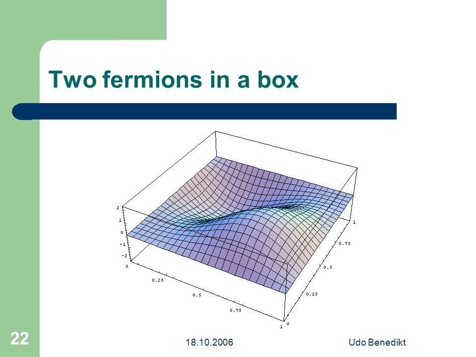 18.10.2006Udo Benedikt 22 Two fermions in a box