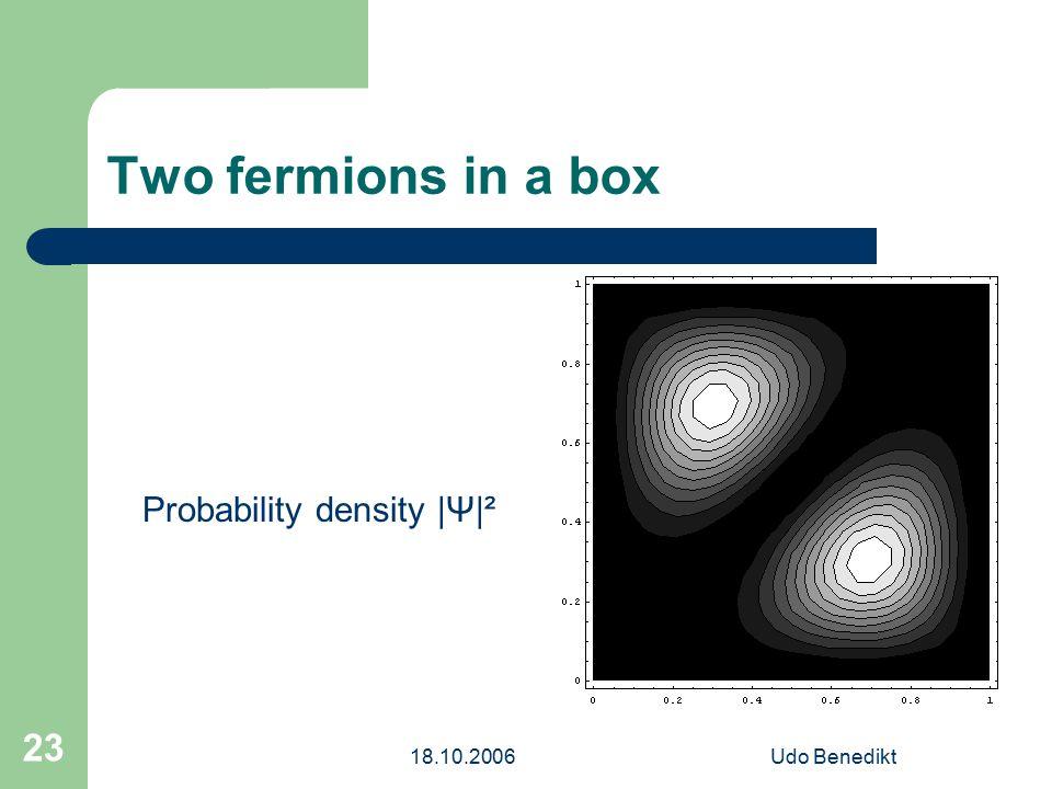 18.10.2006Udo Benedikt 23 Two fermions in a box Probability density |Ψ|²