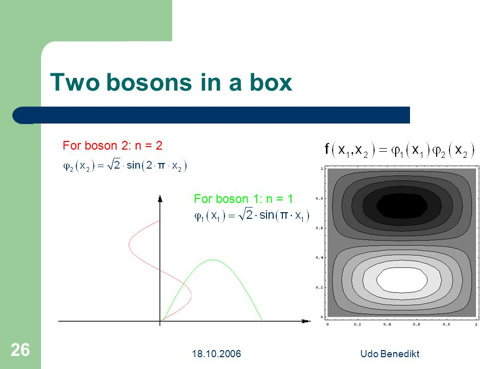 18.10.2006Udo Benedikt 26 Two bosons in a box For boson 1: n = 1 For boson 2: n = 2