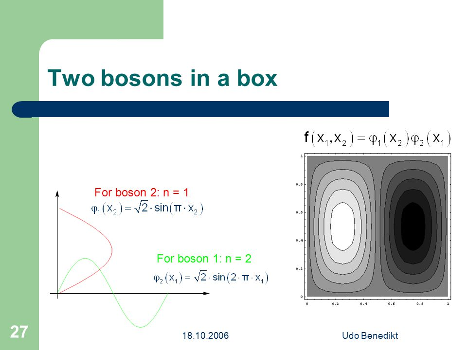 18.10.2006Udo Benedikt 27 Two bosons in a box For boson 1: n = 2 For boson 2: n = 1