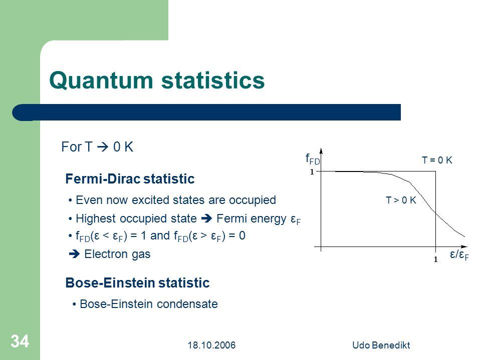 18.10.2006Udo Benedikt 34 Quantum statistics For T  0 K Fermi-Dirac statistic Bose-Einstein statistic Even now excited states are occupied Highest occupied state  Fermi energy ε F f FD (ε ε F ) = 0  Electron gas Bose-Einstein condensate ε/εFε/εF f FD T = 0 K T > 0 K