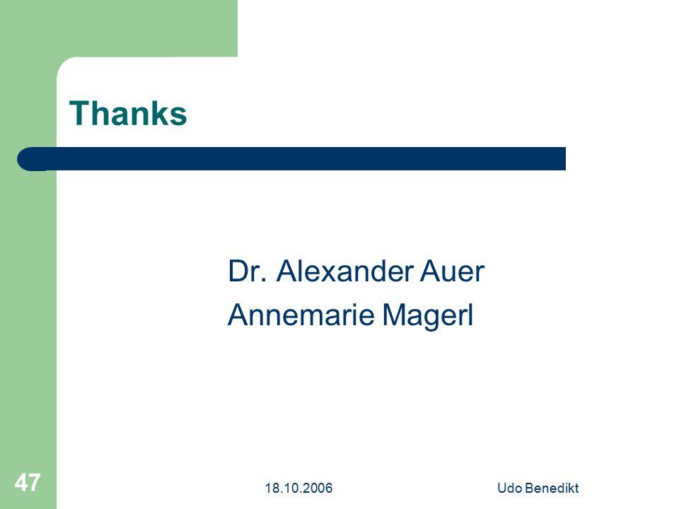 18.10.2006Udo Benedikt 47 Thanks Dr. Alexander Auer Annemarie Magerl