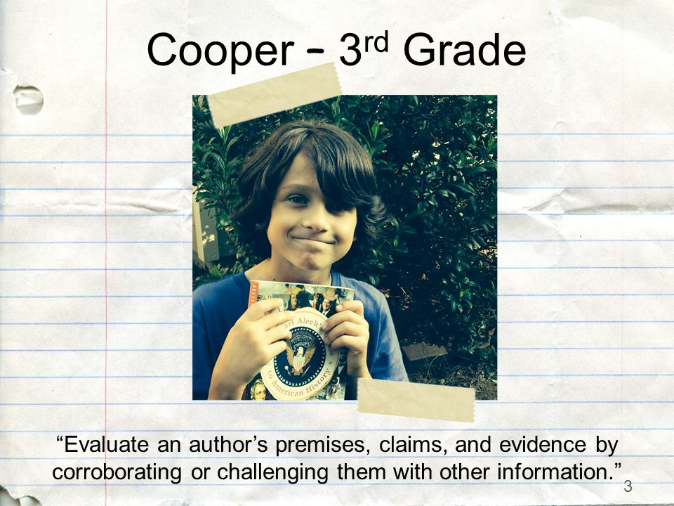 3 Evaluate an author's premises, claims, and evidence by corroborating or challenging them with other information. Cooper – 3 rd Grade