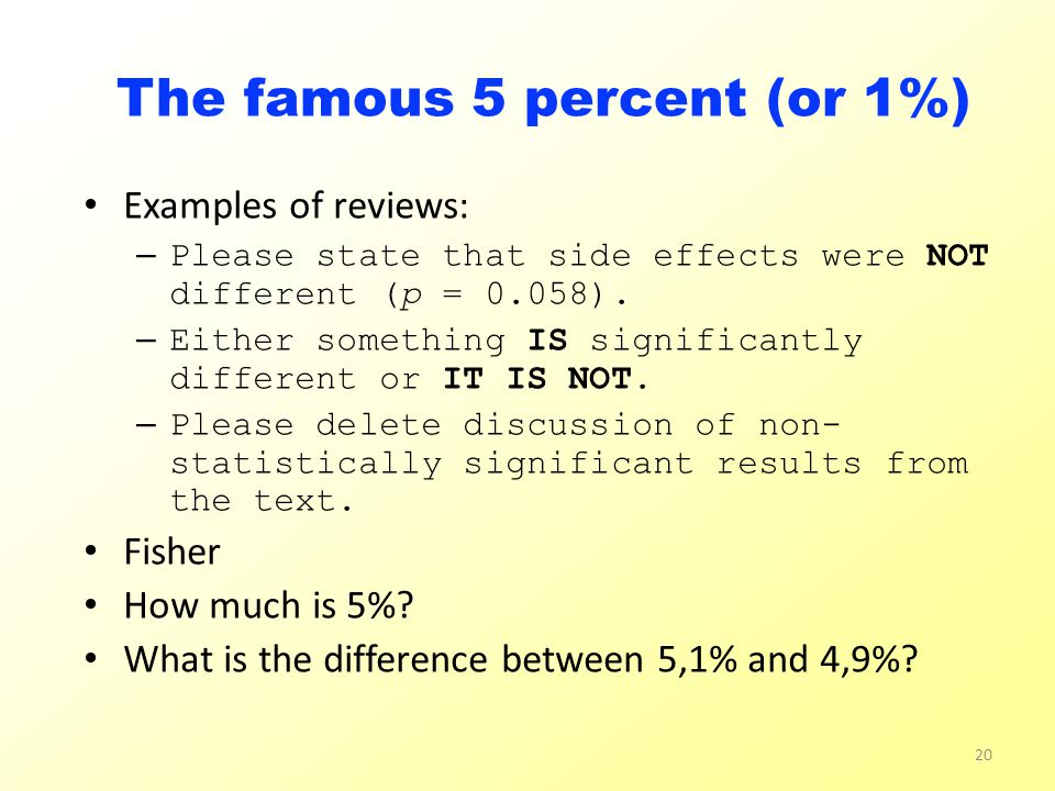 The famous 5 percent (or 1%) Examples of reviews: – Please state that side effects were NOT different (p = 0.058).