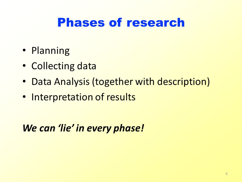 Phases of research Planning Collecting data Data Analysis (together with description) Interpretation of results We can 'lie' in every phase.