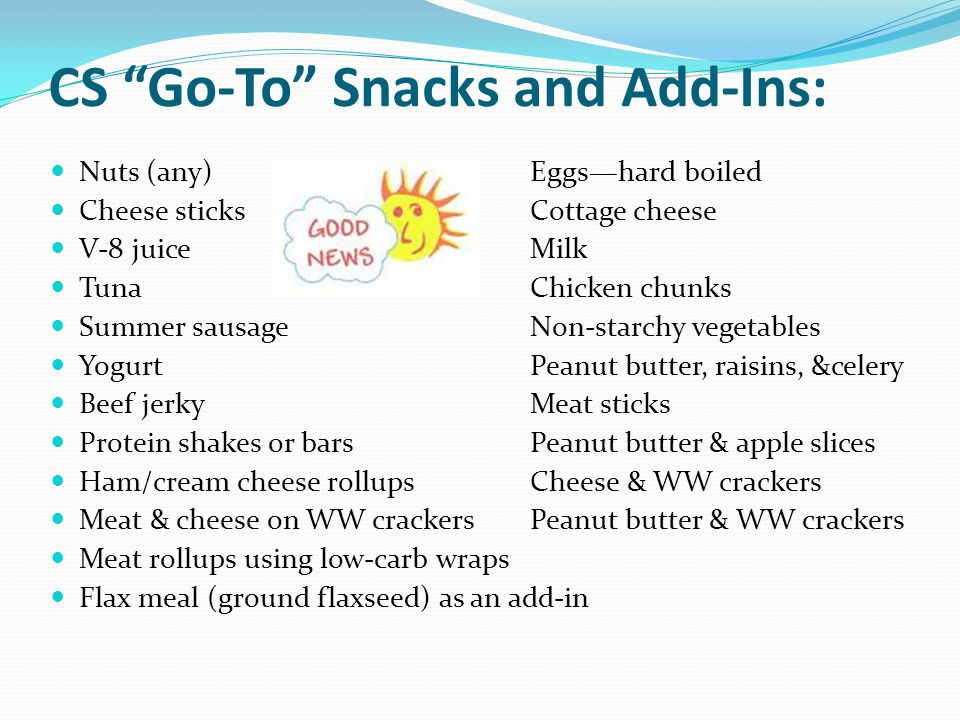 "CS ""Go-To"" Snacks and Add-Ins: Nuts (any)Eggs—hard boiled Cheese sticksCottage cheese V-8 juiceMilk Tuna Chicken chunks Summer sausageNon-starchy vege"