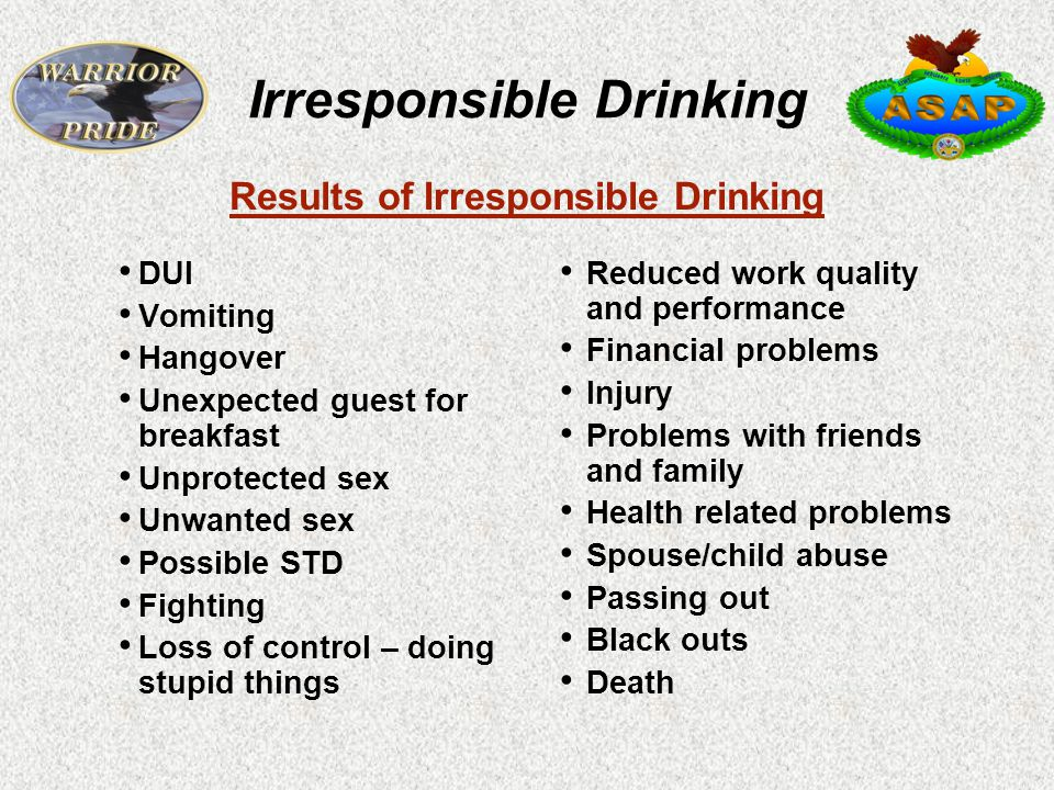 Irresponsible Drinking DUI Vomiting Hangover Unexpected guest for breakfast Unprotected sex Unwanted sex Possible STD Fighting Loss of control – doing stupid things Reduced work quality and performance Financial problems Injury Problems with friends and family Health related problems Spouse/child abuse Passing out Black outs Death Results of Irresponsible Drinking