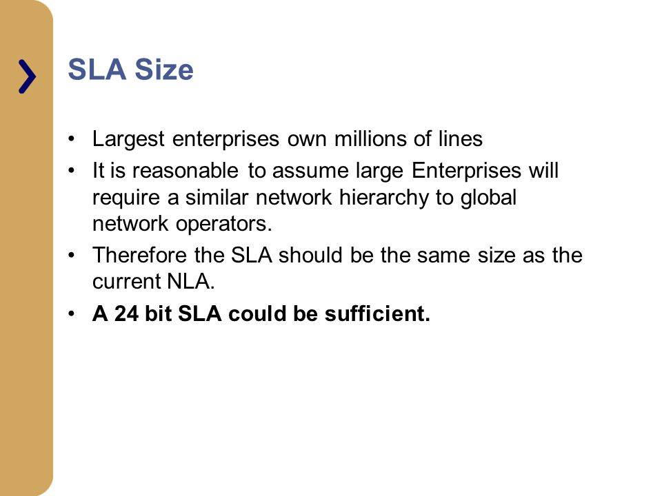SLA Size Largest enterprises own millions of lines It is reasonable to assume large Enterprises will require a similar network hierarchy to global network operators.