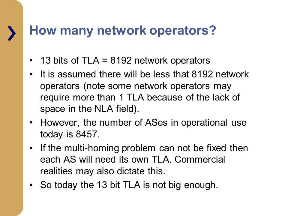 How many network operators.