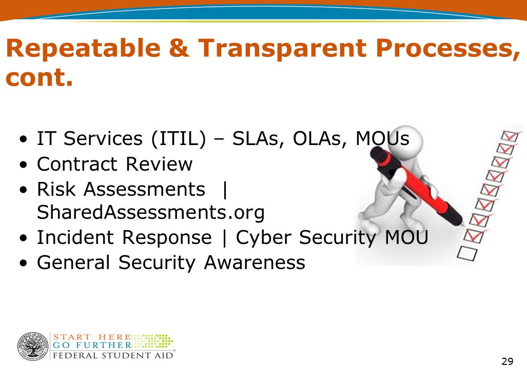 29 Repeatable & Transparent Processes, cont. IT Services (ITIL) – SLAs, OLAs, MOUs Contract Review Risk Assessments | SharedAssessments.org Incident R