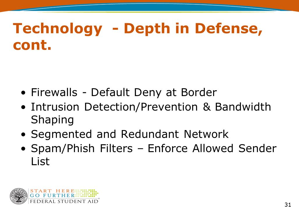 31 Technology - Depth in Defense, cont. Firewalls - Default Deny at Border Intrusion Detection/Prevention & Bandwidth Shaping Segmented and Redundant