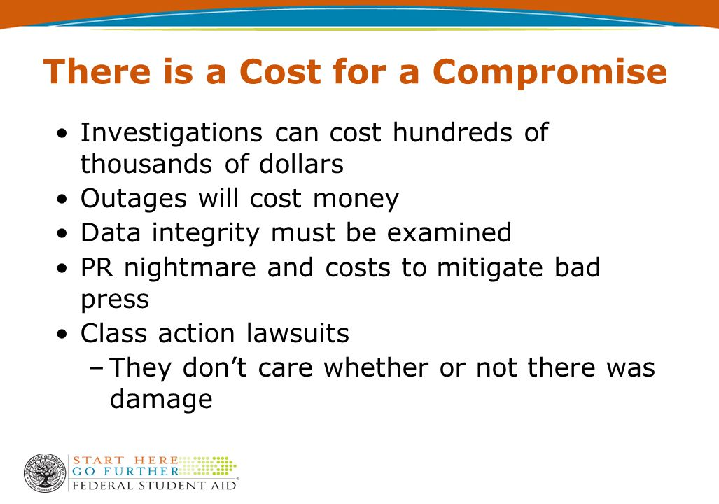 There is a Cost for a Compromise Investigations can cost hundreds of thousands of dollars Outages will cost money Data integrity must be examined PR n