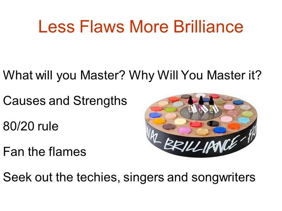 Less Flaws More Brilliance What will you Master.Why Will You Master it.