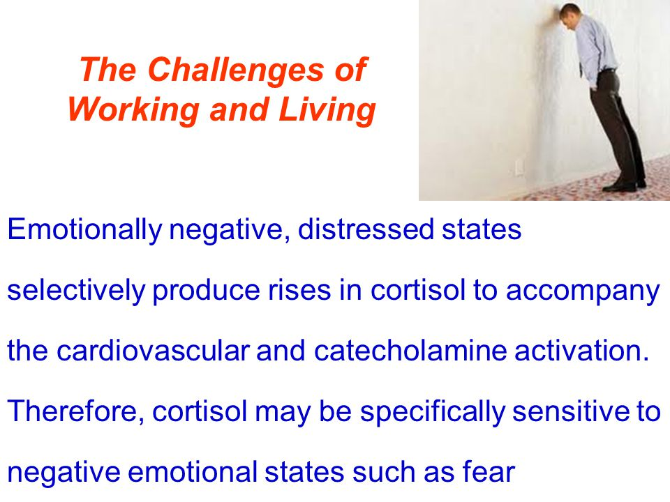 The Challenges of Working and Living Emotionally negative, distressed states selectively produce rises in cortisol to accompany the cardiovascular and catecholamine activation.