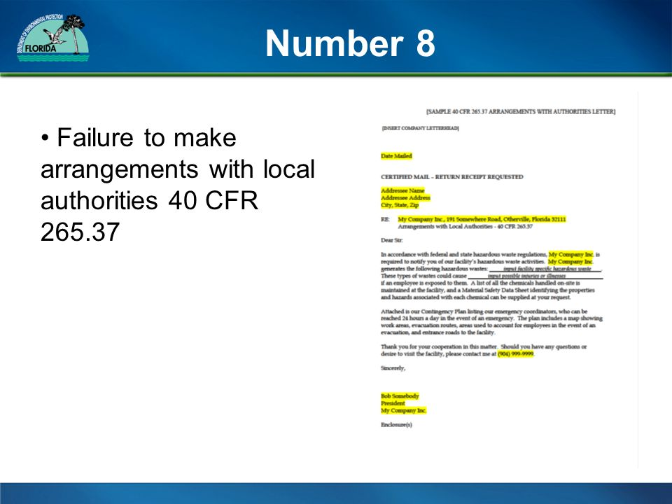 Number 8 Failure to make arrangements with local authorities 40 CFR 265.37