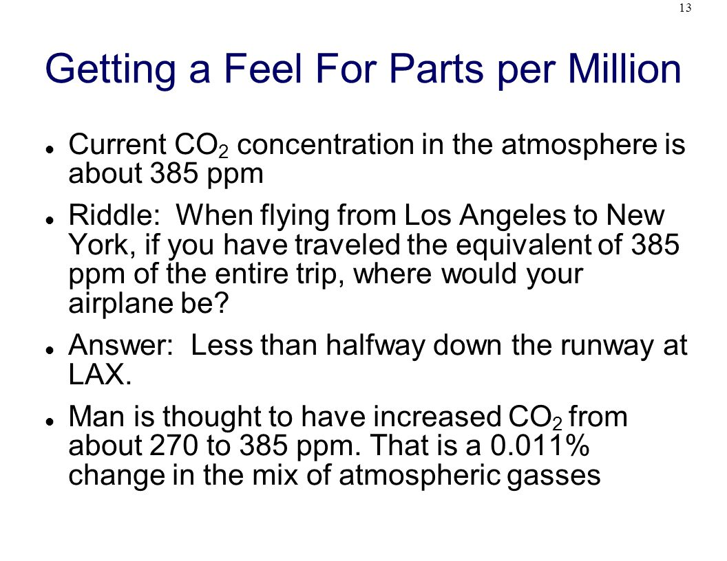 13 Getting a Feel For Parts per Million Current CO 2 concentration in the atmosphere is about 385 ppm Riddle: When flying from Los Angeles to New York, if you have traveled the equivalent of 385 ppm of the entire trip, where would your airplane be.