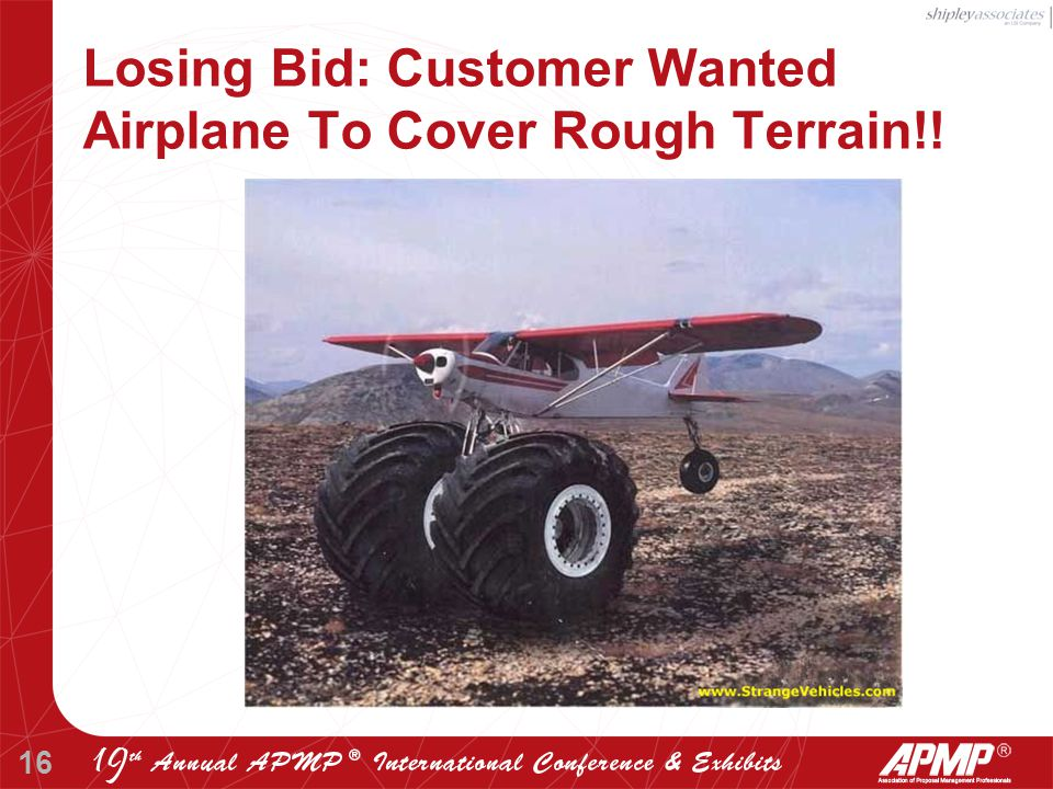 16 Losing Bid: Customer Wanted Airplane To Cover Rough Terrain!!