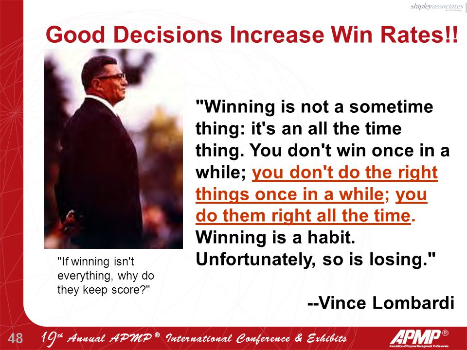 48 Winning is not a sometime thing: it s an all the time thing.