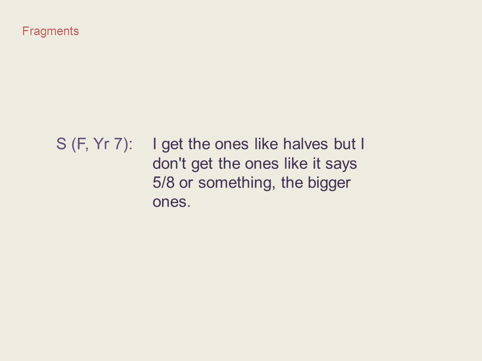 Fragments S (F, Yr 7): I get the ones like halves but I don't get the ones like it says 5/8 or something, the bigger ones.
