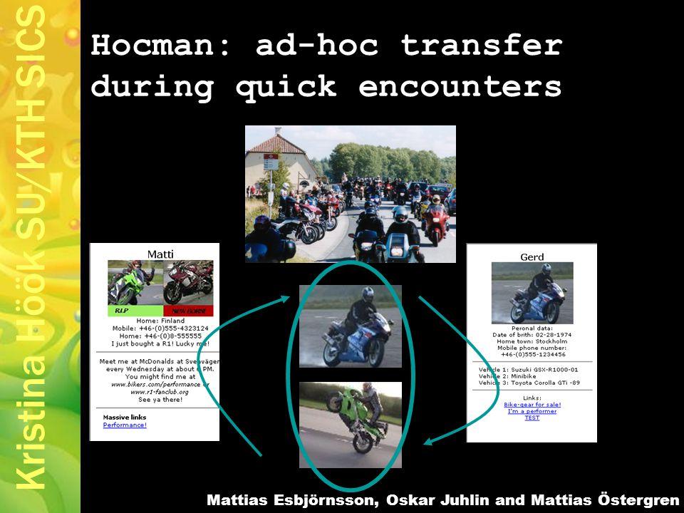 Kristina Höök SU/KTH SICS Hocman: ad-hoc transfer during quick encounters Mattias Esbjörnsson, Oskar Juhlin and Mattias Östergren