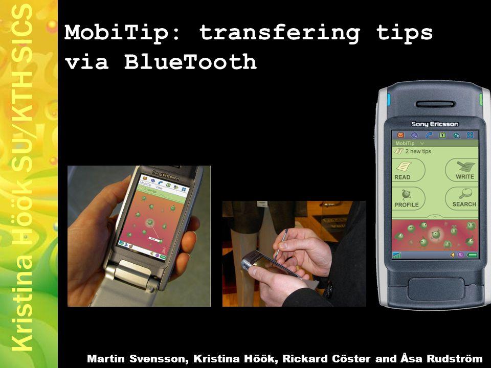 Kristina Höök SU/KTH SICS MobiTip: transfering tips via BlueTooth Martin Svensson, Kristina Höök, Rickard Cöster and Åsa Rudström