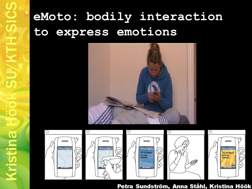 Kristina Höök SU/KTH SICS eMoto: bodily interaction to express emotions Petra Sundström, Anna Ståhl, Kristina Höök