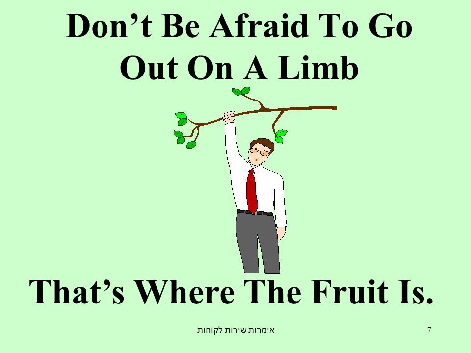 אימרות שירות לקוחות 7 Don't Be Afraid To Go Out On A Limb That's Where The Fruit Is.