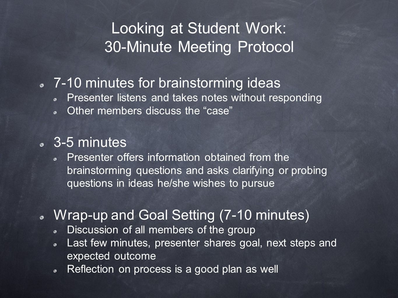 Looking at Student Work: 30-Minute Meeting Protocol 7-10 minutes for brainstorming ideas Presenter listens and takes notes without responding Other members discuss the case 3-5 minutes Presenter offers information obtained from the brainstorming questions and asks clarifying or probing questions in ideas he/she wishes to pursue Wrap-up and Goal Setting (7-10 minutes) Discussion of all members of the group Last few minutes, presenter shares goal, next steps and expected outcome Reflection on process is a good plan as well