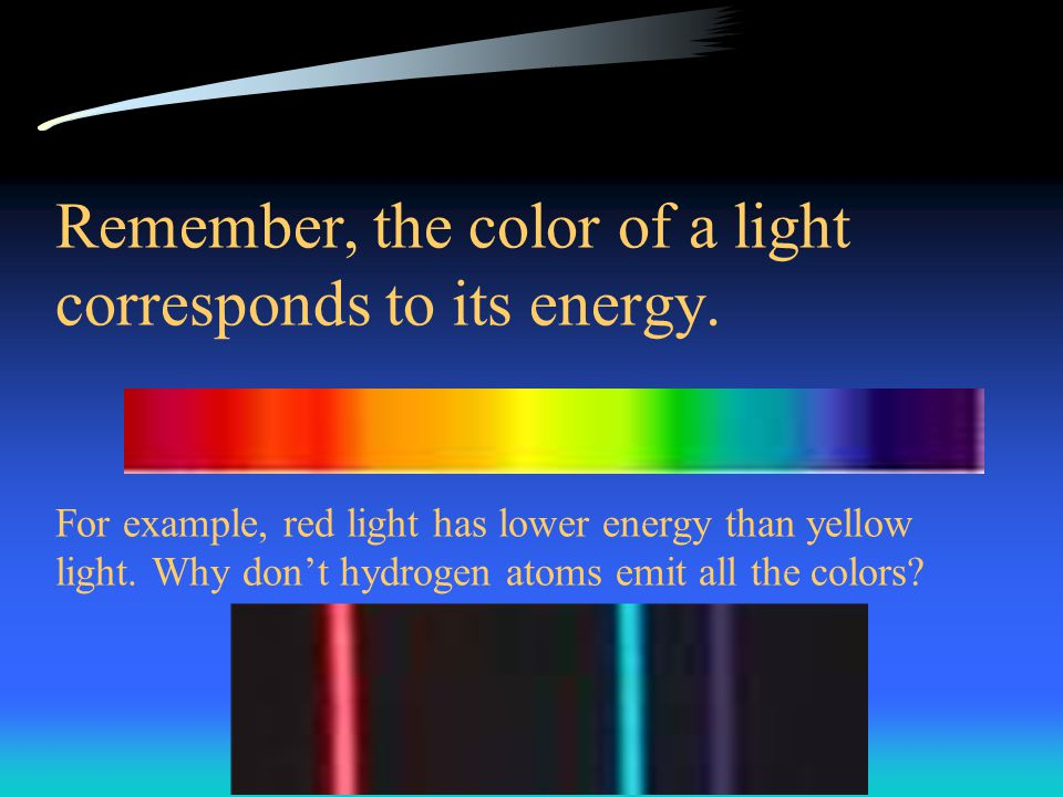 Remember, the color of a light corresponds to its energy.