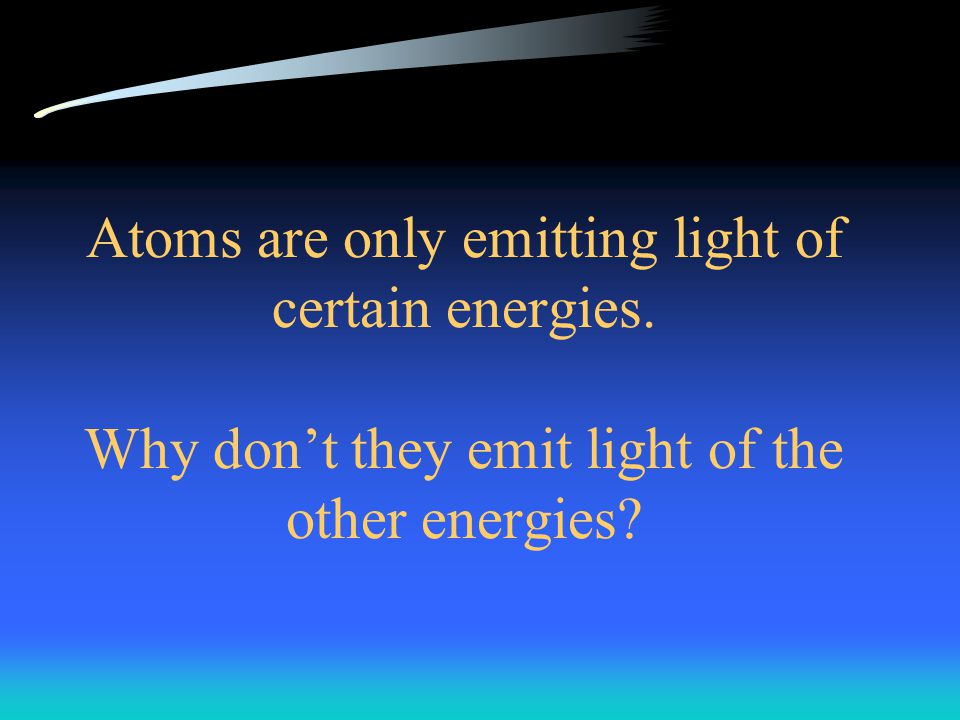 Atoms are only emitting light of certain energies. Why don't they emit light of the other energies